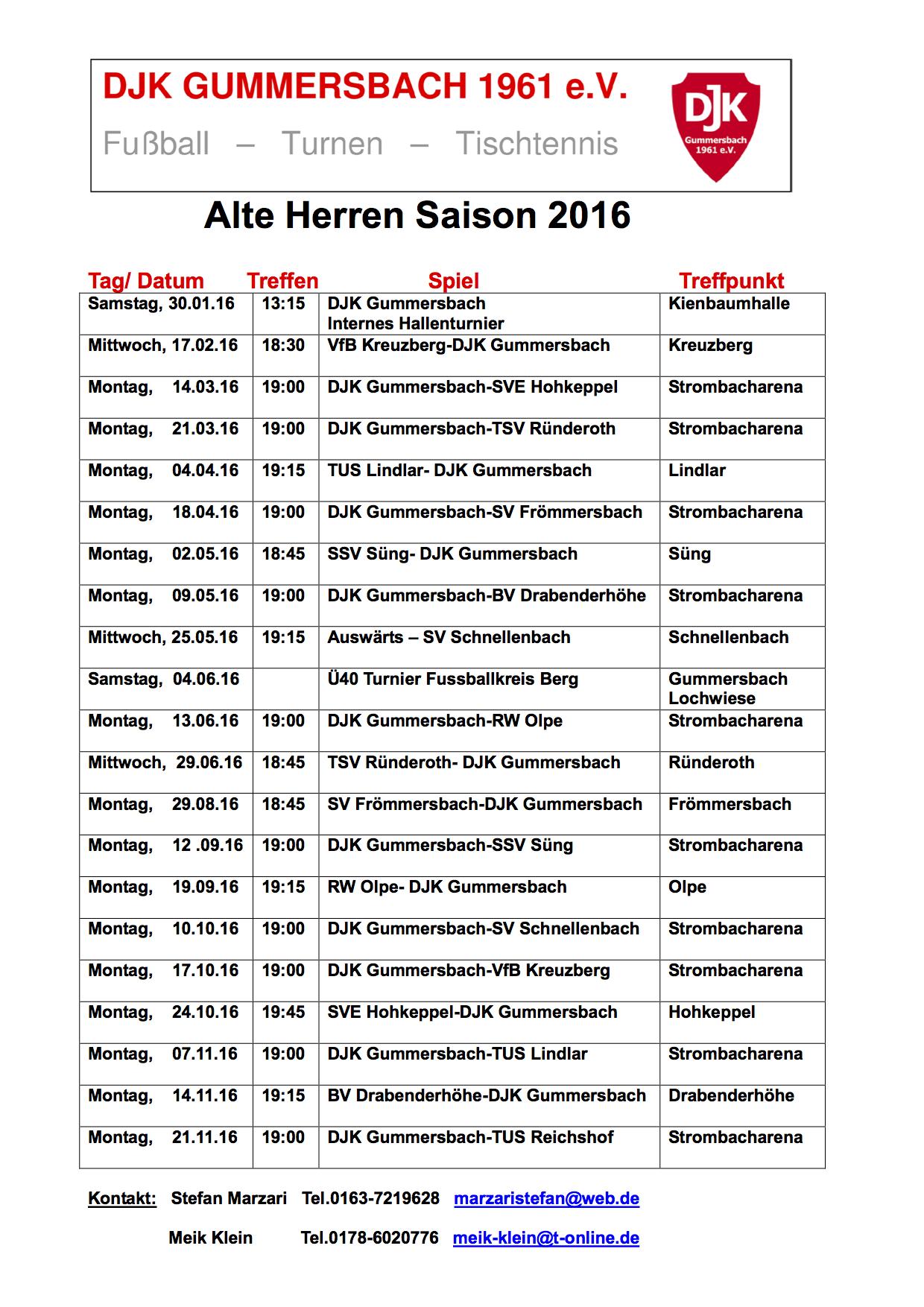 Alte Herren Spielplan 2016