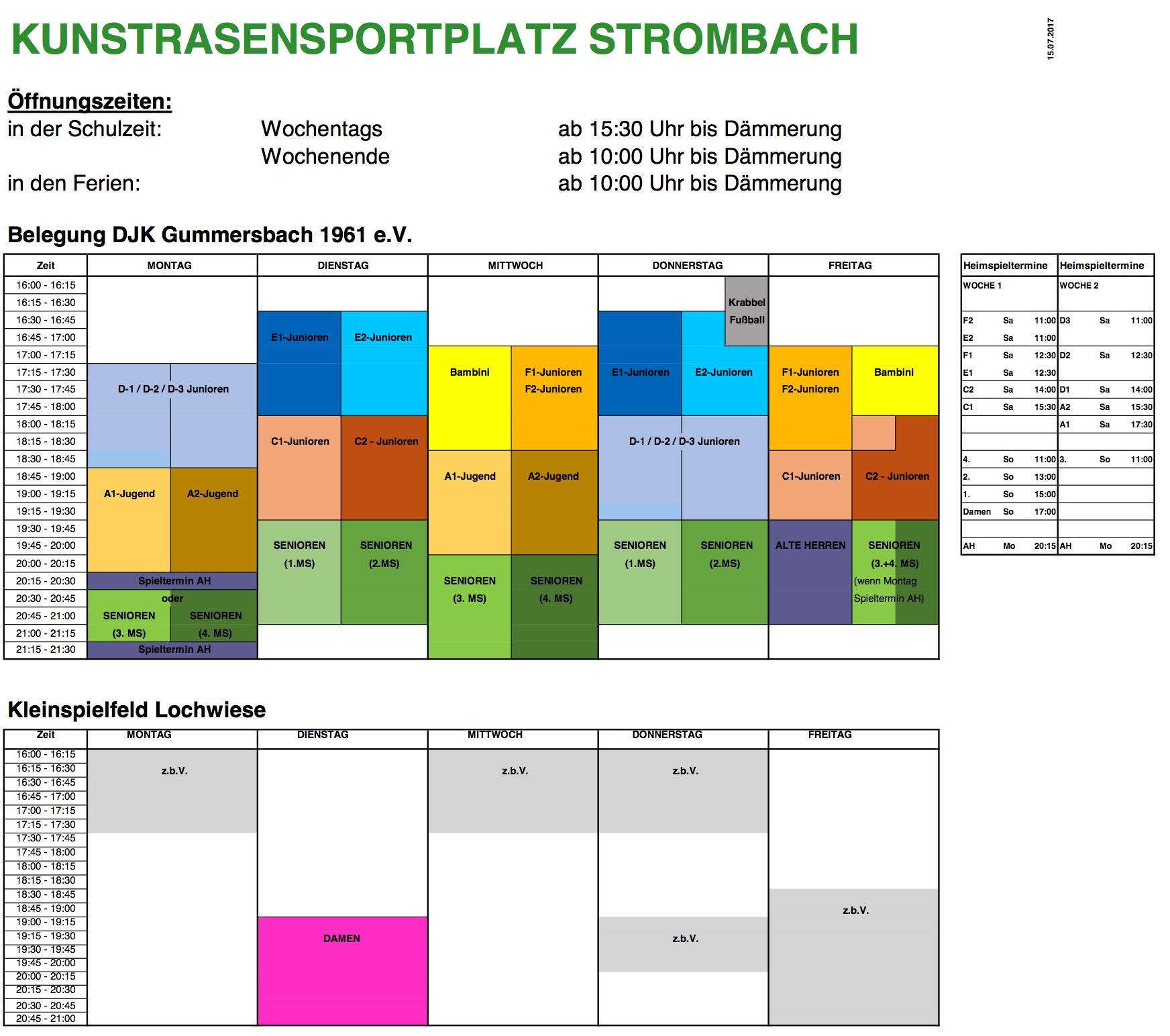 Belegung Sportplatz Saison 2017-18